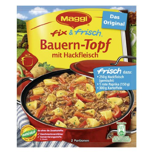 MAGGI fix & fresh farmer stew with ground beef (Bauern-Topf mit Hackfleisch) (Pack of 4)