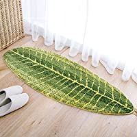 SUNBABY Soft Polyster Superfine Fiber Non-slip Carpet Banana Leaf Designs Doormat Bathroom Floor Rug (17.7x47.2 Inch, Green Banana Leaf)