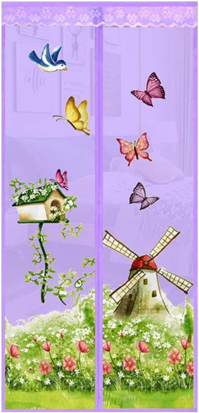 Hands-Free Summer Magnetic Screen Window Door Fly Curtain Purple 100 happyhouse009 Butterfly Windmill Garden Magnetic Screen Curtain Door 210cm Anti Fly Insect