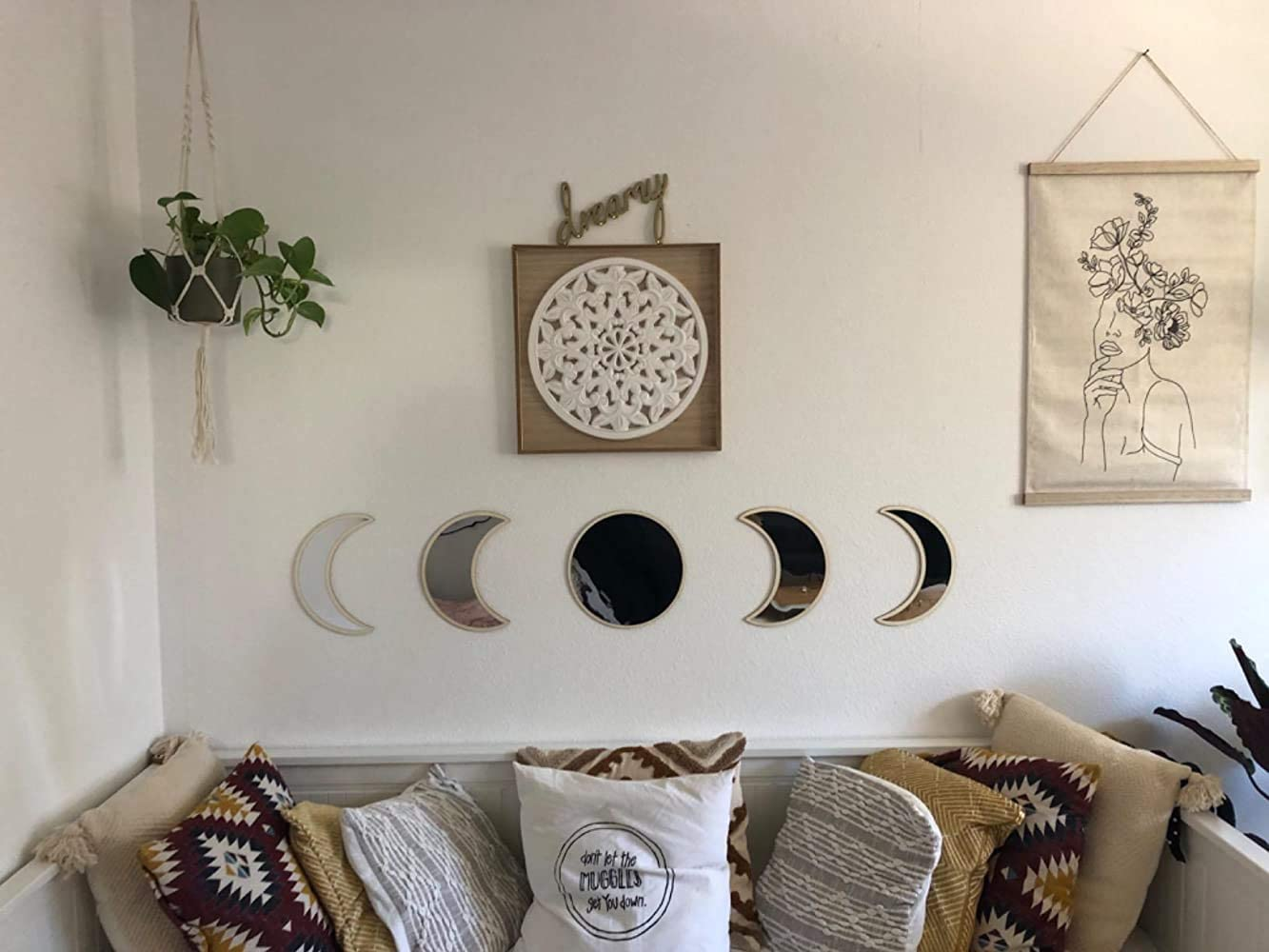 Hciszl 5pcs Set Scandinavian Moon Phase Mirror Wall Decor for Home Living Room Bedroom – Wooden Frame Decorative Acrylic Mirrors Bohemian Wall Decoration – No Need to Punch