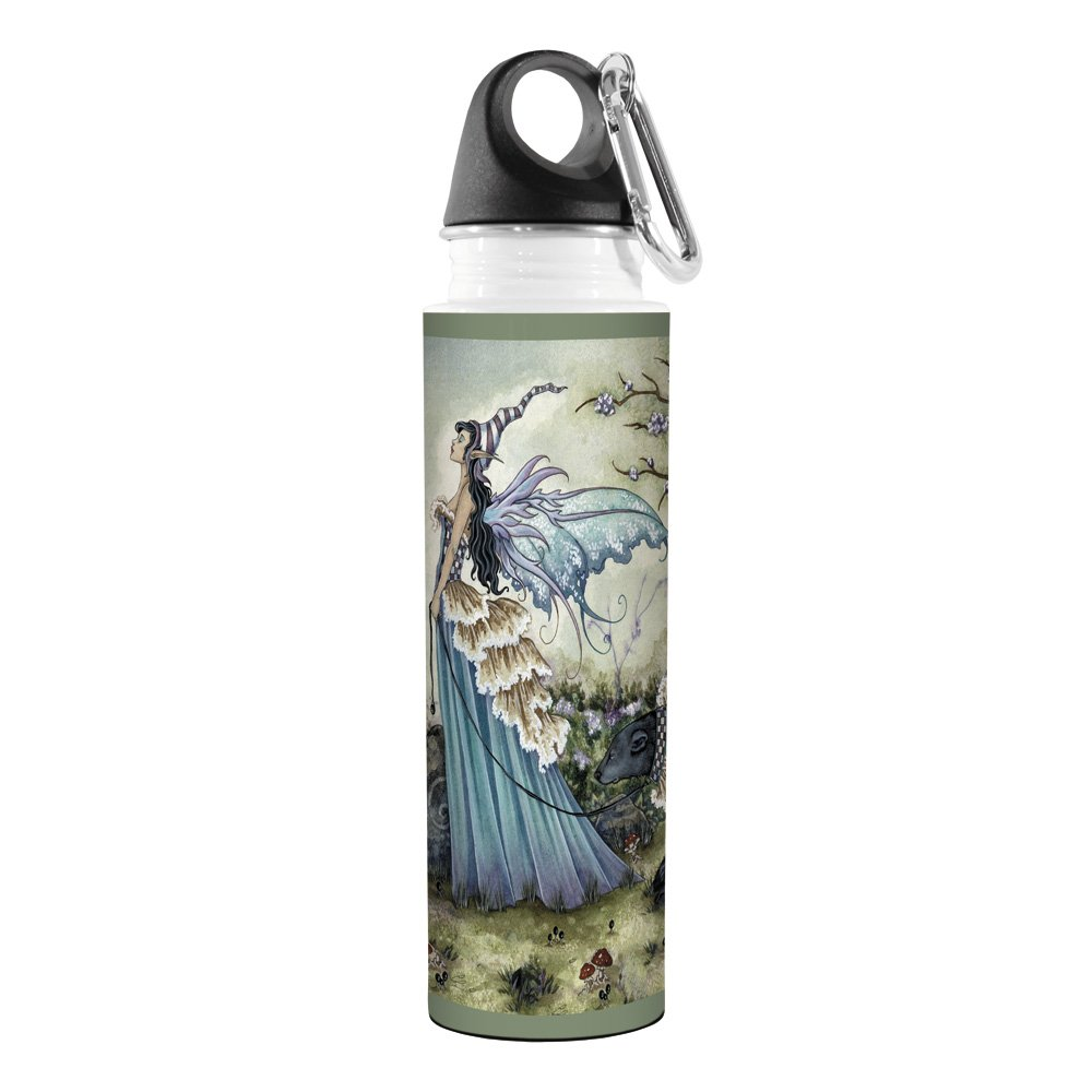 18-Ounce Tree-Free Greetings VB47574 Amy Brown Fantasy Artful Traveler Stainless Water Bottle Fairy Frillicent and The Bear Tree Free