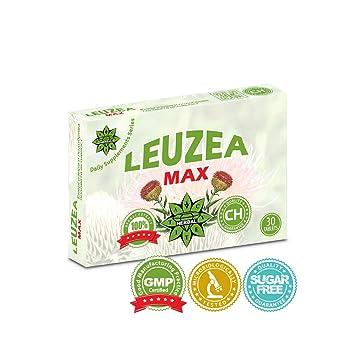 Leuzea Max - 30 tabletas x 200 mg de extracto de hierbas naturales, fuerza,