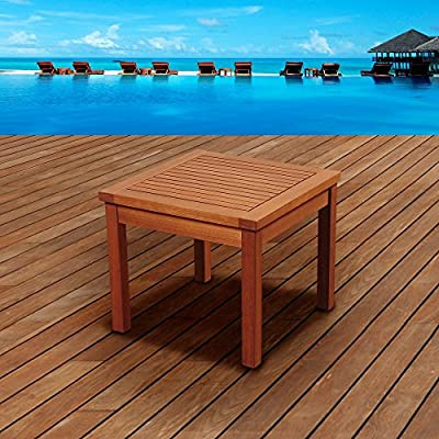 Amazonia Westfield Square Side Table - Dimensions: 19L x 19W x 17H in. FSC-certified eucalyptus construction Natural brown color - patio-tables, patio-furniture, patio - 618TZZh3SgL. SS400  -