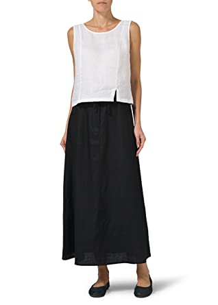 190ab744420 Vivid Linen High Rise Long Skirt at Amazon Women s Clothing store