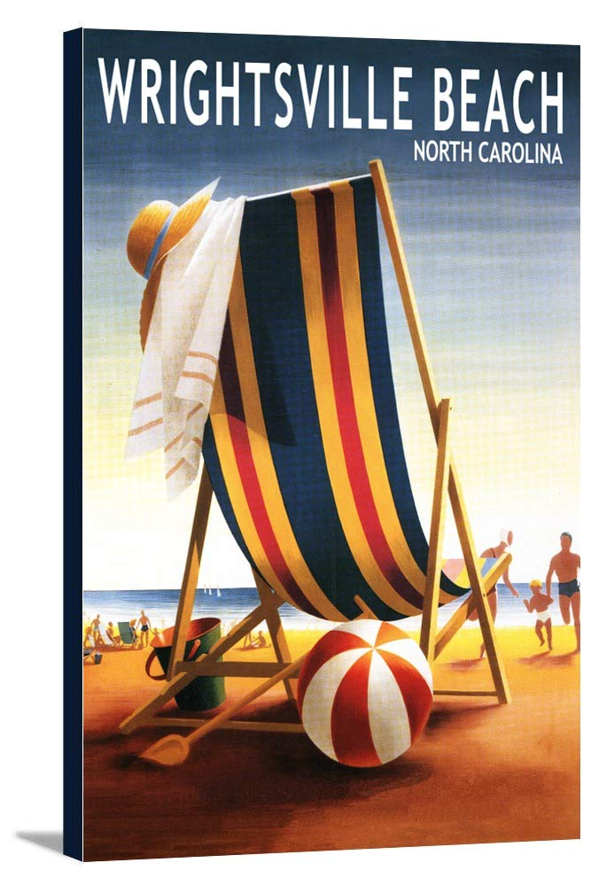 Wrightsvilleビーチ、ノースカロライナ州 – ビーチボールと椅子 24 x 36 Gallery Canvas LANT-3P-SC-53779-24x36 24 x 36 Gallery Canvas  B0184AQPDS