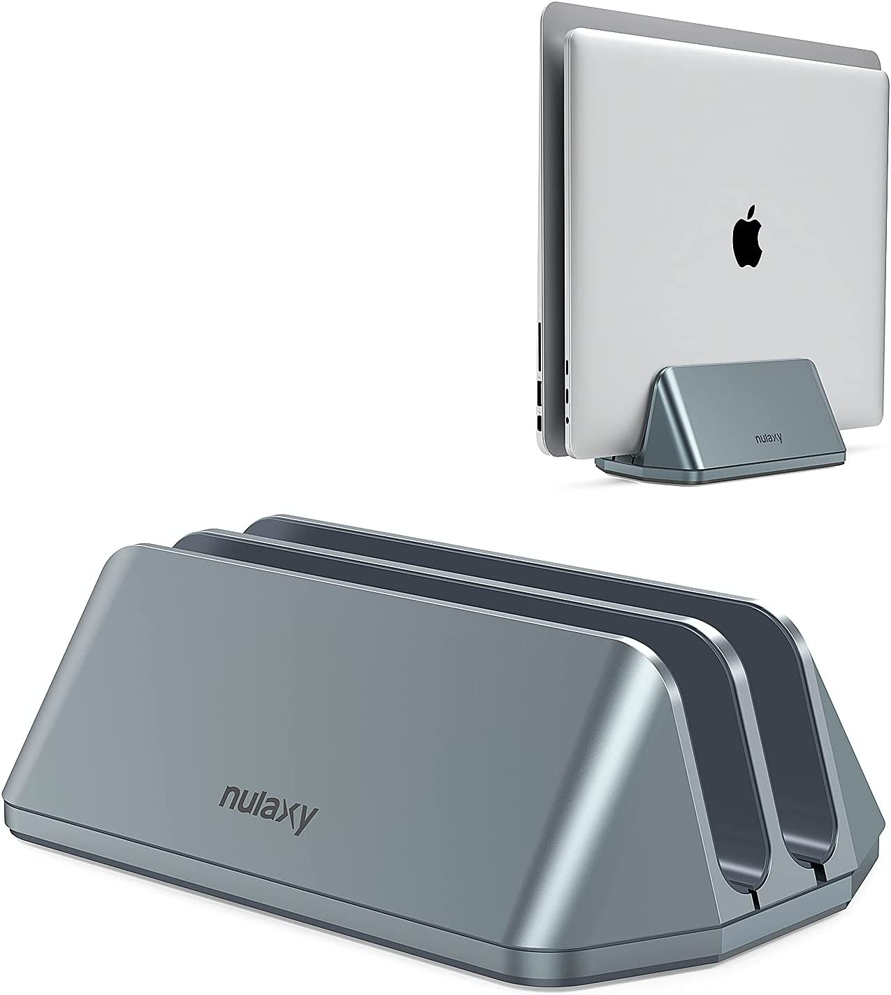 Nulaxy Vertical Laptop Stand, Space Saving Desktop MacBook Vertical Stand with Double Adjustable Docks, Aluminum Laptop Holder Fits All MacBook/iPad/Laptop up to 17.3 inches, Grey