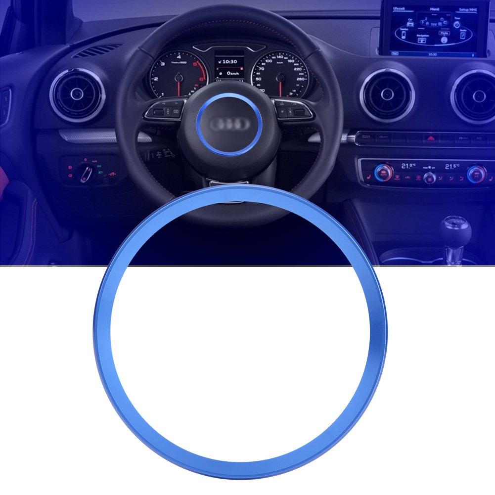 Blue Interior Steering Wheel Ring Cover Trim Aluminum Alloy Car Steering Wheel Ring Cover Trim for A1 A3 A4 A5 A6 Q3 Q5