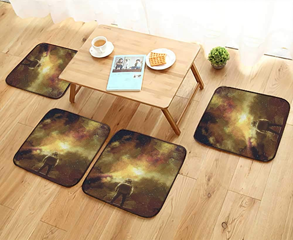 Leighhome Comfortable Chair Cushions House Decor Cosmonaut Boy Standing Against Cosmos Nebula Themed Solar Artprint Tan Black Reuse can be Cleaned W17.5 x L17.5/4PCS Set
