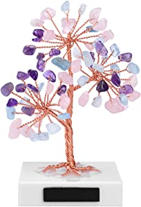 CrystalTears Mini Amethyst Rose Quartz Aquamarine Healing Crystal Stone Tree Natural Feng Shui Thumble Gemstone Money Tree on Marble Base for Home Office Decor Good Luck
