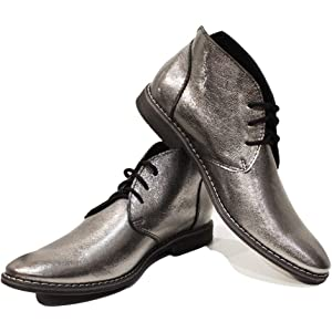 Handmade Colorful Italian Leather Shoes High Boots Silver Modello Silvero