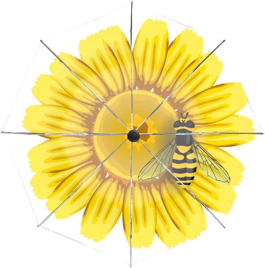 Compact Umbrella,Bee And Flower Automatic Folding Travel Umbrella Ergonomic Non-Slip Handle Auto Open//Close