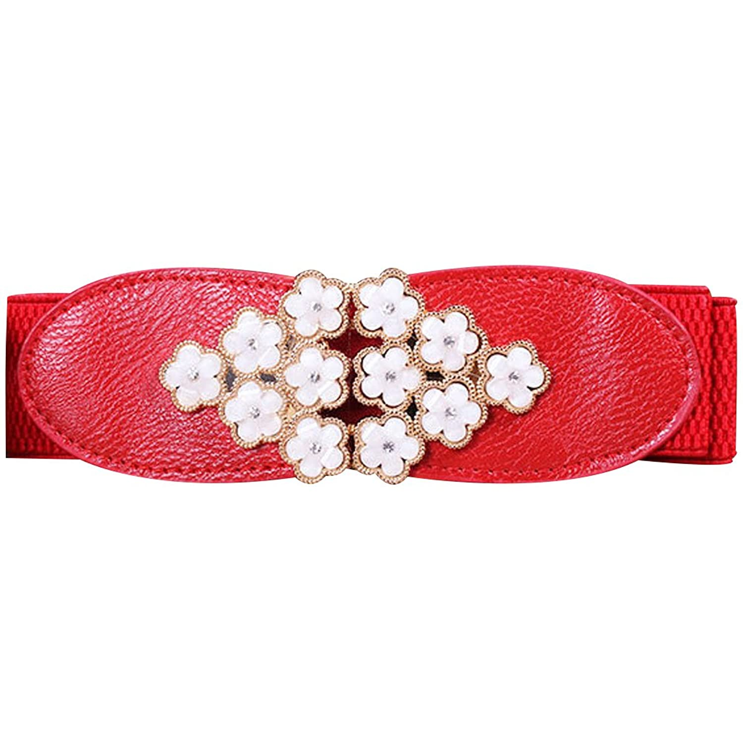 Deercon Women Flowers Buckle Elastic Waist Belt Girdle Cummerbund Waistband
