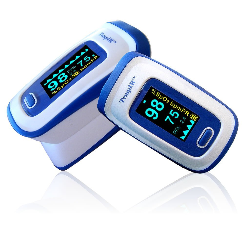Finger Pulse Oximeter Portable Digital Blood Oxygen And Sensor Meter With Alarm Spo2 For Equipment Indicator Using Two Led Adults Children Sports Use Tempir