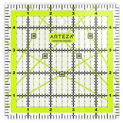 Arteza Acrylic Quilters Ruler - 5 x 5 inch - Dual-Colored Grid Lines