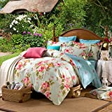Hxiang 3-pieces 100%cotton Green Yellow Pink Blue Peony Flowers Floral for Girls Printed Duvet Cover Sets (Twin, Green)