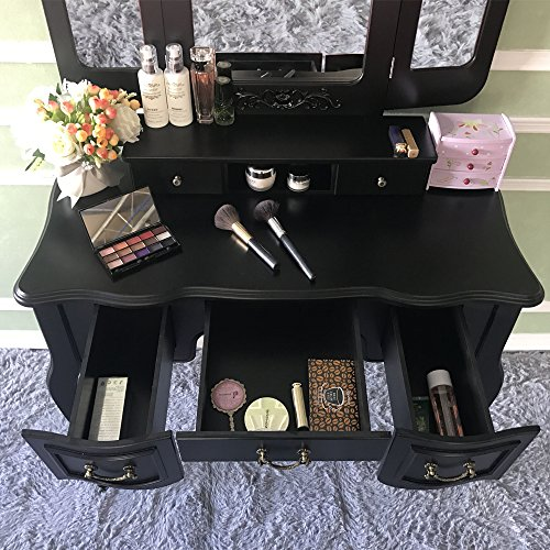 Blongang Vanity Table Set,Tri-folding Mirror 5 Large Drawers with Cushioned Stool,Elegant Makeup Vanity Table Set French Design,Black