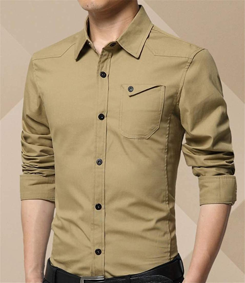 Etecredpow Men Long Sleeve Solid Color Fashion Tops Turn Down Button Front Shirts