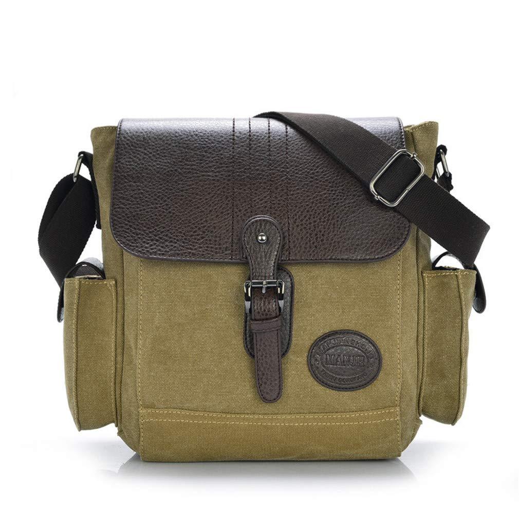 Vintage Men Messenger Bags Small Patchwork Leather Shoulder Sling Bag Men Crossbody Bags Men Male Satchel Khaki W28H25D12CM