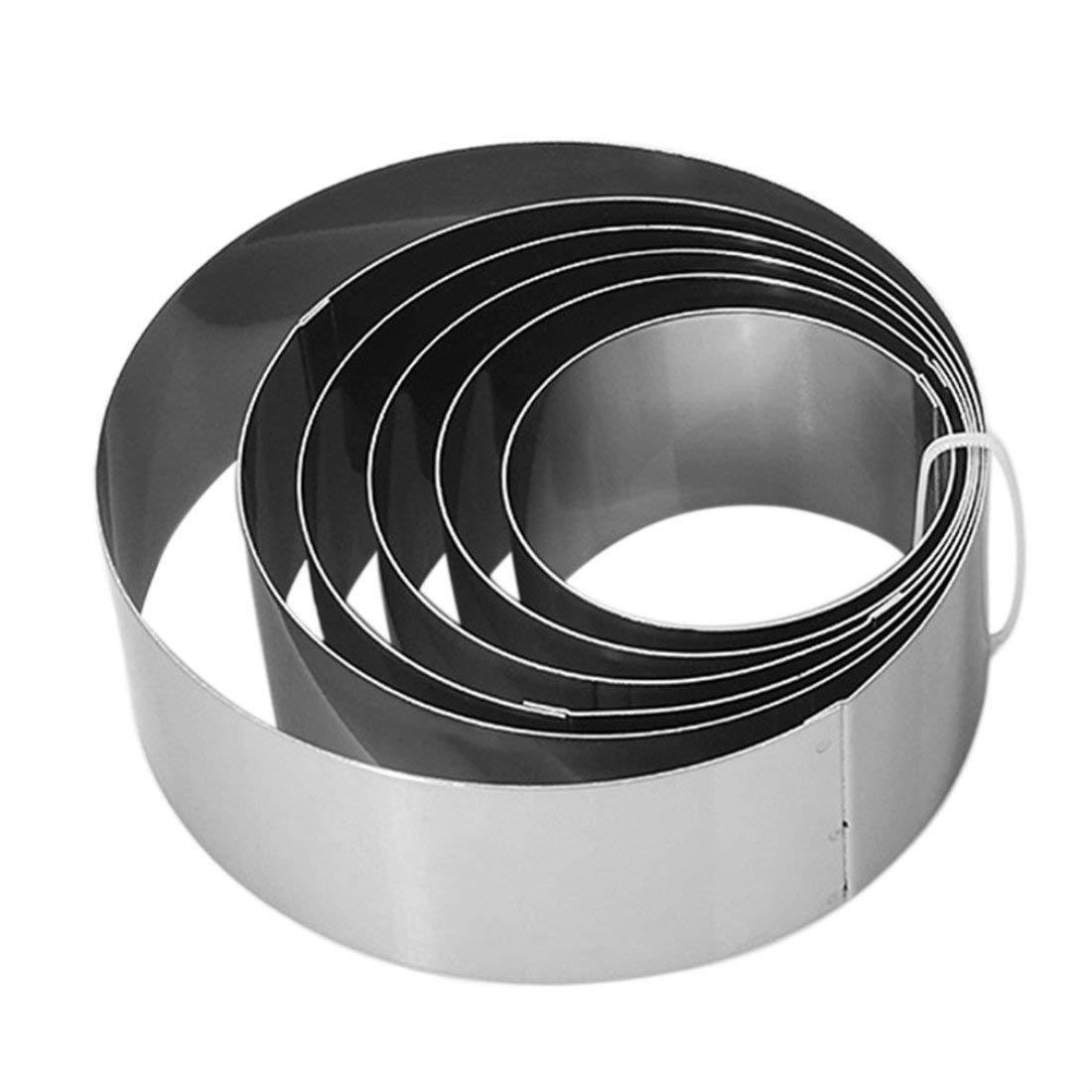 6pcs / set in acciaio inox forma rotonda mousse anello casa fai da te muffa della torta decorazione muffa cottura biscotto strumento biscotto Formulaone