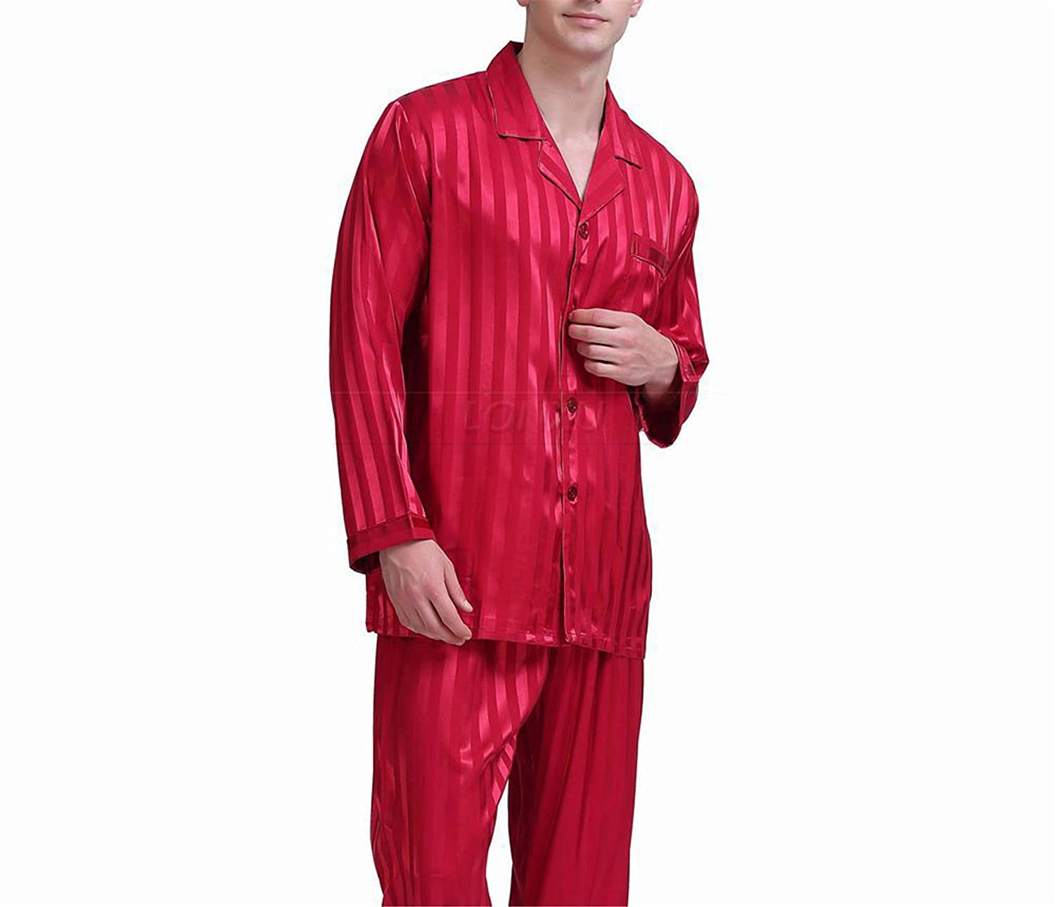 Thadensama Mens Silk Satin Pajamas Set Pajama Pyjamas Set Sleepwear Set Loungewear S M L XL 2XL 3XL 4XL Plus Striped Black