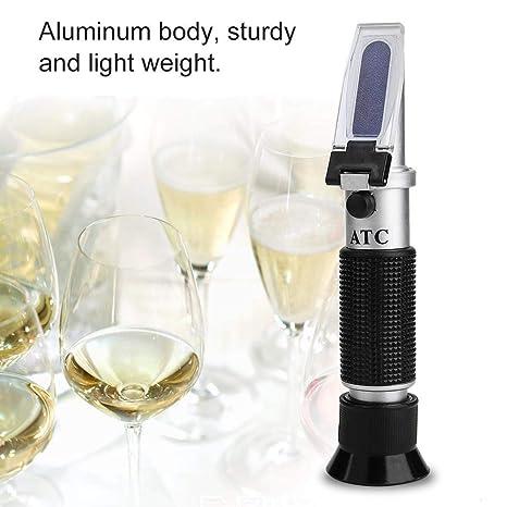 Akozon Refractómetro Alcohol, Medidor de concentración de alcohol 0-32% ATC para Cerveza Vino Jugo: Amazon.es: Industria, empresas y ciencia