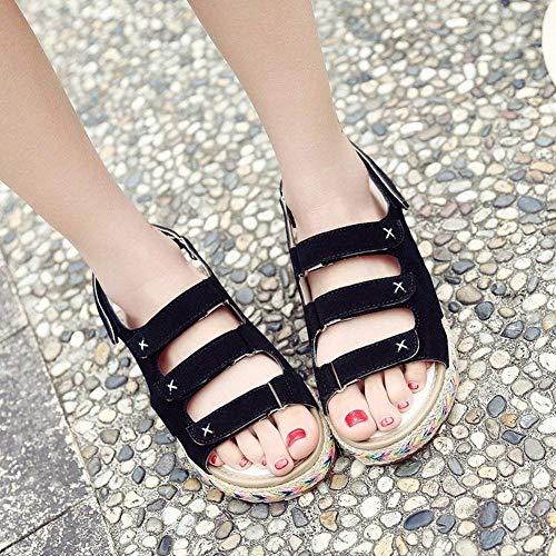 Imperméable Rome Beige Ouvert Velcro coloré Sandales Noir Épaisse Taille All Femme 38 Étudiants ncRWtXx