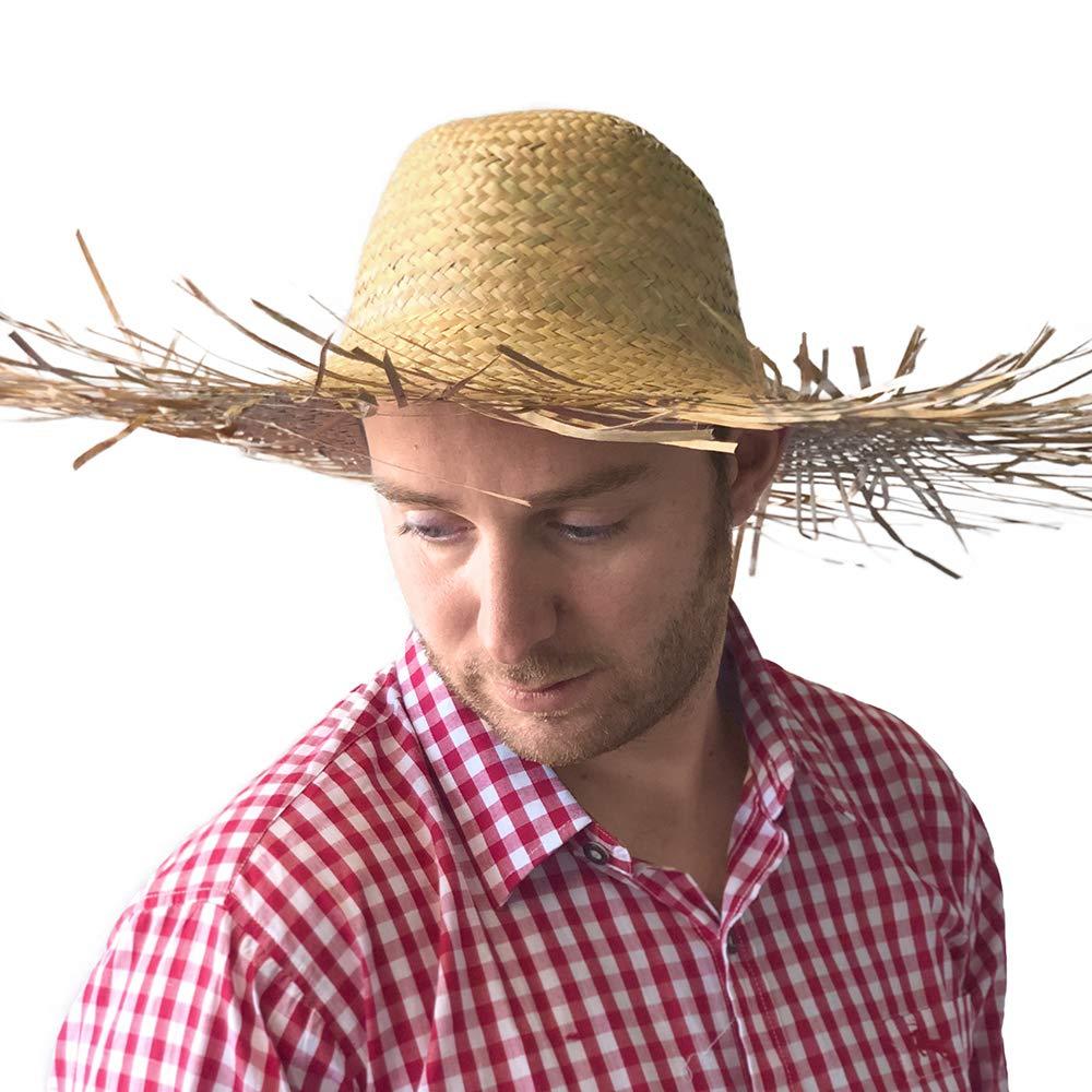 PARTY DISCOUNT /® Hut Tom aus Stroh ausgefranst naturfarben