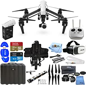 DJI Inspire 1 v2.0 Quadcopter with 4K Camera and 3-Axis Gimbal Essential Bundle Includes: 32GB MicroSD, Landing Pad, VR Goggles, Backpack Strap and More (Certified RENEWED)