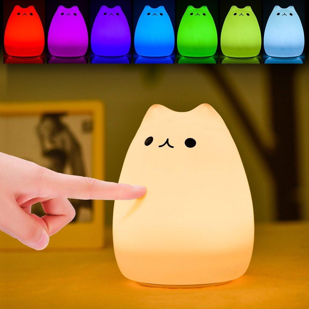 Luz de Noche LED, Haofy Lámpara de Noche para Niños Lámpara de Gato linda Control Grifo Sensible de Silicona Suave Juguete de Descompresión Multicolor para Bebé Regalo de Navidad para Guardería