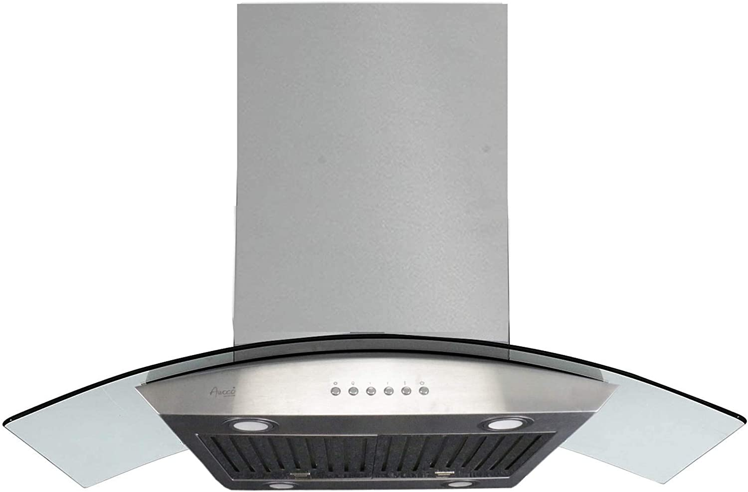 """Baffle Filter Awoco 36 RH-ISG 6/"""" Round Vent 1mm Thick Stainless Steel Island Mounted 4 Speeds 900CFM Range Hood with 4 LED Lights Soft Touch Electronic Control Panel"""