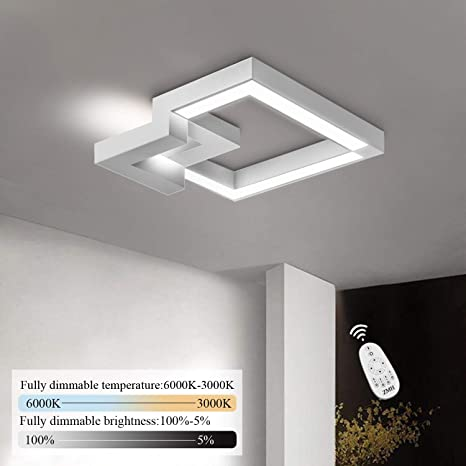 ZMH LED Deckenleuchte Wohnzimmer Modern Dimmbar Fernbedienung, Farbewechsel  stufenlos warmweiß/neutralweiß/kaltweiß Deckenlampe Flur Badlampe ...