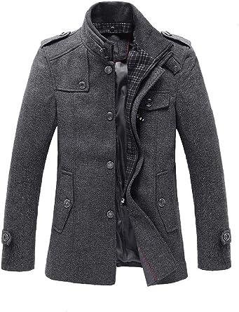 chouyatou Mens Stand Collar Slim Fit Wool Blend Long Business Coat