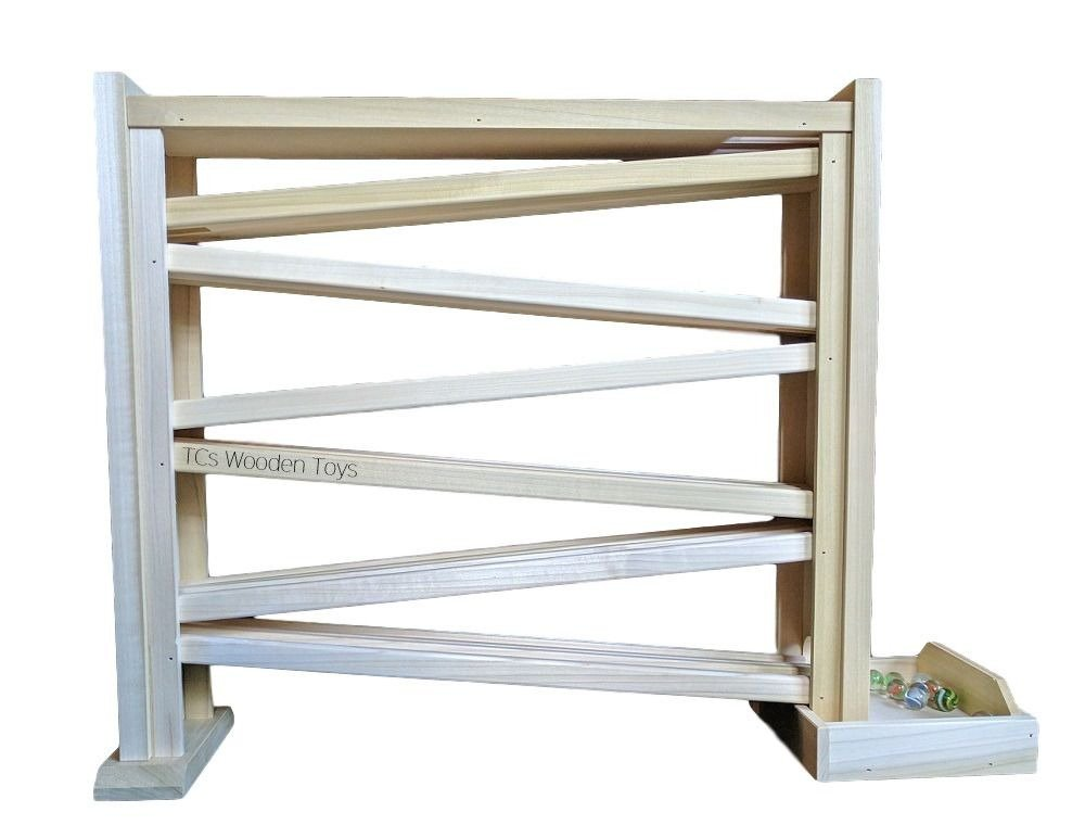 Amish Made Original Wood Wooden Marble Roller Toy - Double Track, 18'' high w 100 Free Marbles