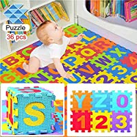 VEZARON Children Kids Baby Puzzle Play Mat, Baby Foam Playmat Activity Mat Play Gym 36pcs Mat of Alphabet Puzzle Pieces is 0-9 and A-Z