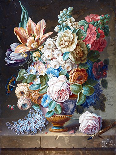 "A STILL LIFE OF FLOWERS by Cornelis van Spaendonck vase bouquet chafer butterfly Accent Tile Mural Kitchen Bathroom Wall Backsplash Behind Stove Range Sink Splashback One Tile 6""x8"" Ceramic, Matte"