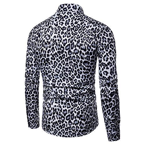 Shirts Long Casual Print Mens Slim Noir Fashion Tops Printed Blouse Ihengh Sleeve Leopard xt0vSwYnq