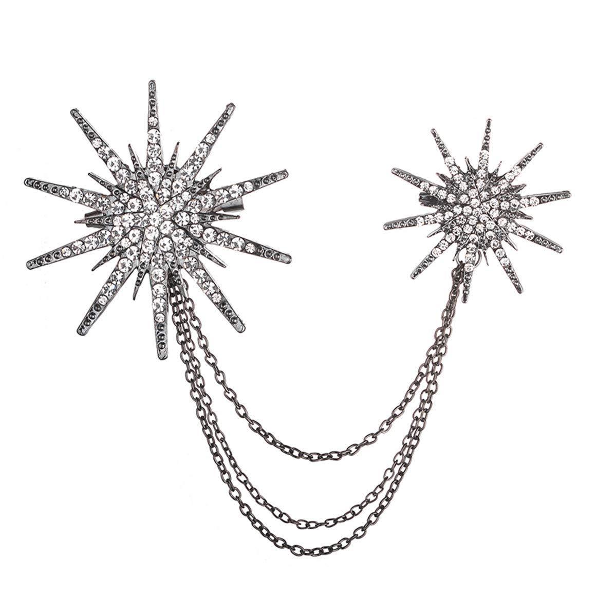 Ogquaton Elegante Broche de Cadena de Estrella de Diamantes de imitaci/ón Negro Patr/ón Ropa de Mujer Broche de decoraci/ón Creativo y /útil