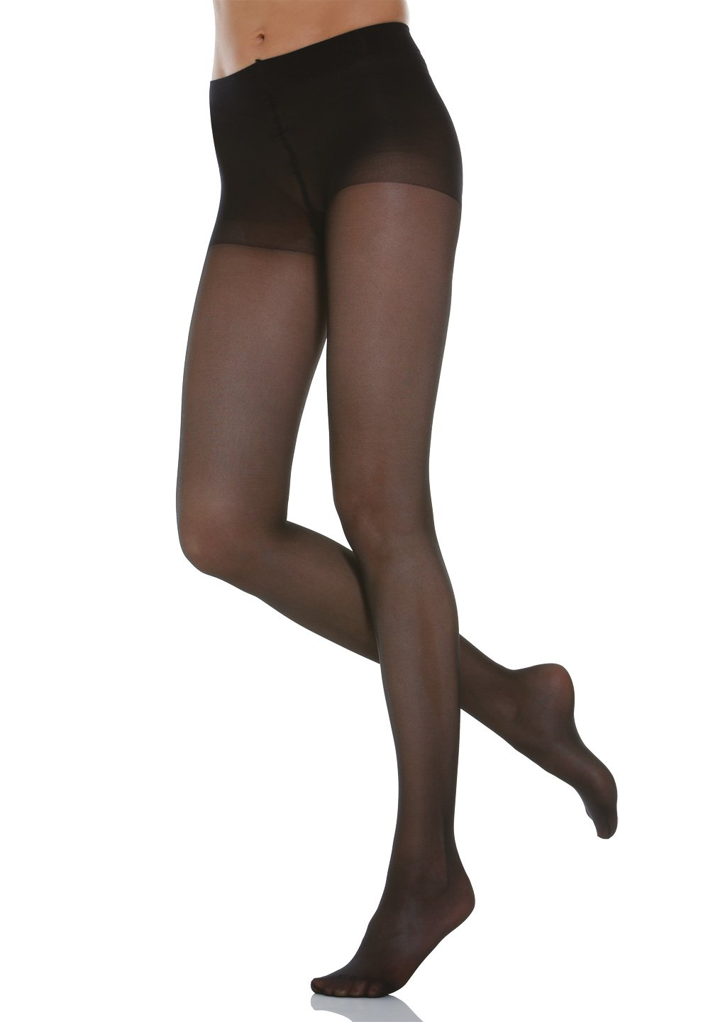 Alpha Medical 8-15 mmHg Compression Pantyhose, Graduated Compression & Support Hosiery Fine Italian Made Fashionable Sheer Stockings (Size 3 Black)