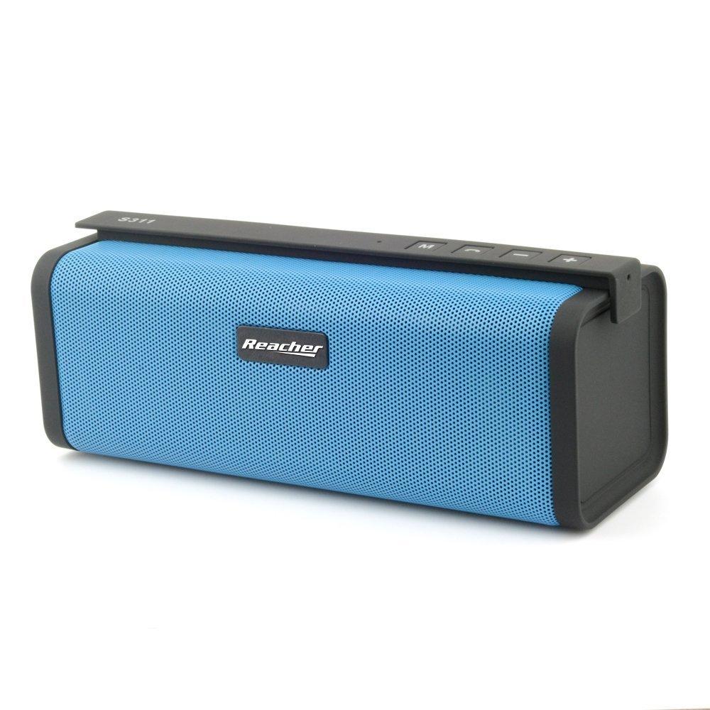 Reacher - Altavoz Bluetooth estéreo Premium 10W con radiador pasivo, Altavoz inalámbrico portátil con Radio FM, USB Entrada, Llamadas Manos Libres 3.5mm, AUX/Tarjetas y Ranura para Tarjetas TF, Azul