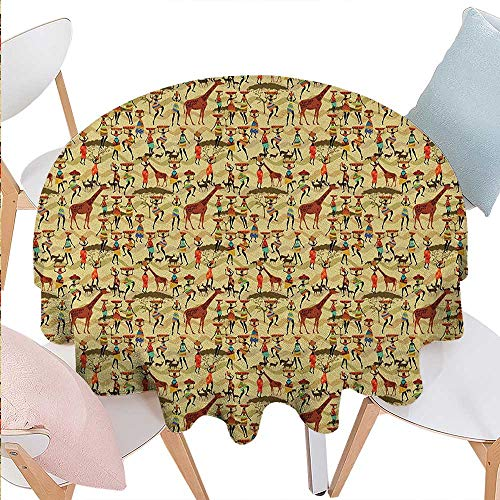 Africa Stain Resistant Wrinkle Round Tablecloth Woman Silhouette with Colorful Clothes and Pots Deer Oriental Culture Inspirations Round Wrinkle Resistant Tablecloth D54 Multicolor