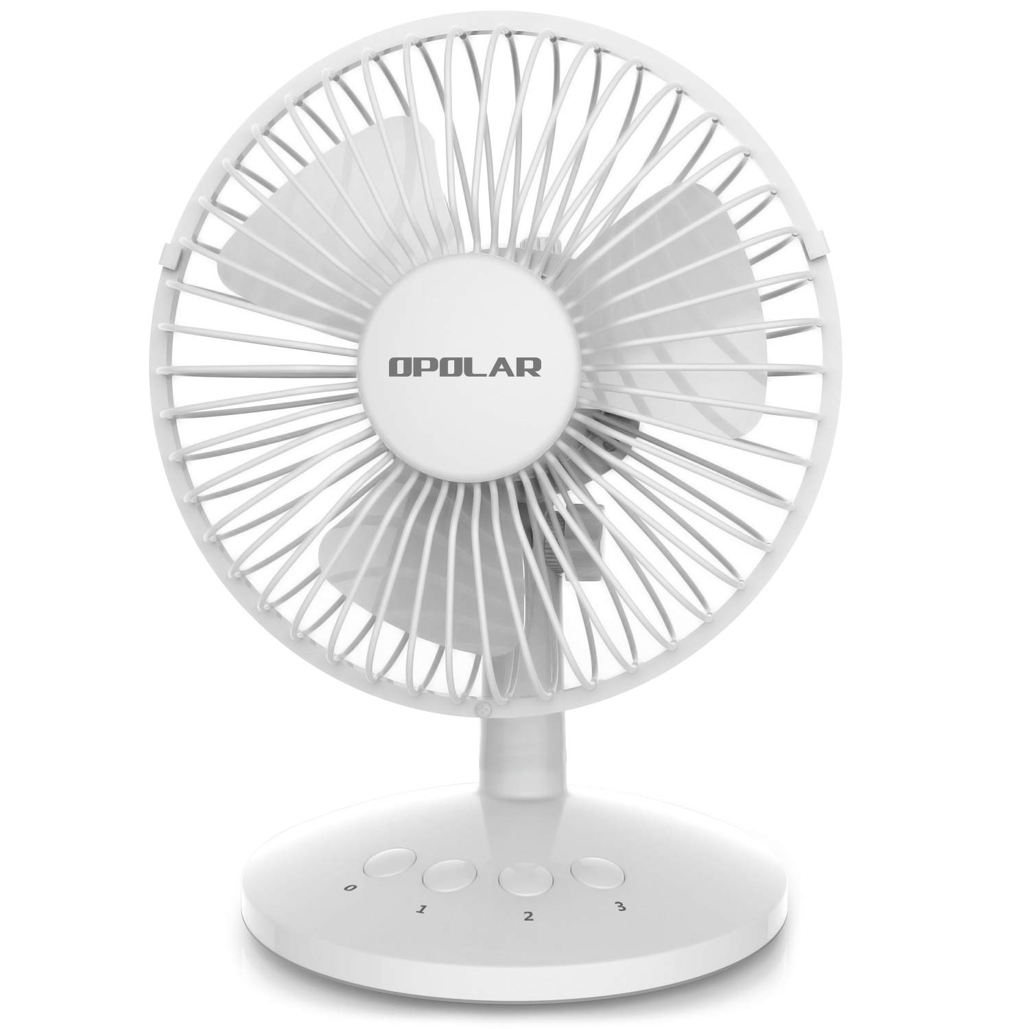 OPOLAR First Oscillating Mini Fan, AA Battery (not Included) Operated or USB Powered, Portable Table Fan, 3 Speeds, Adjustable Head, Enhanced Airflow and Low Noise, Personal Office Fan for Home-White by OPOLAR