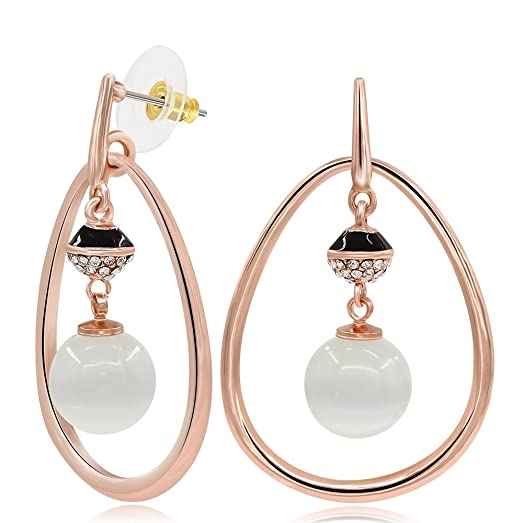 Kemstone Rose Gold and Silver Plated Two Tone Multi Loops Dangle Earrings Women's Jewelry GwbiFIR
