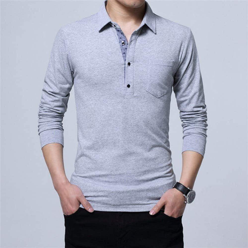 NISHIPANGZI Hombres Camiseta Polo Manga Larga de algodón Casual ...