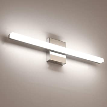 Temgin Bathroom Lighting Fixtures Led Vanity Lights 24 Inch 14w Neutral White 4000k Vanity Lighting Fixtures Modern Over Mirror Wall Light Indoor Wall Lamp Chrome Amazon Com