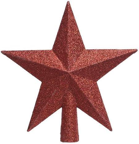 Puntale A Stella Per Albero Di Natale.Puntale Per Albero Di Natale Stella Rosso Fizzco Amazon It Casa E Cucina