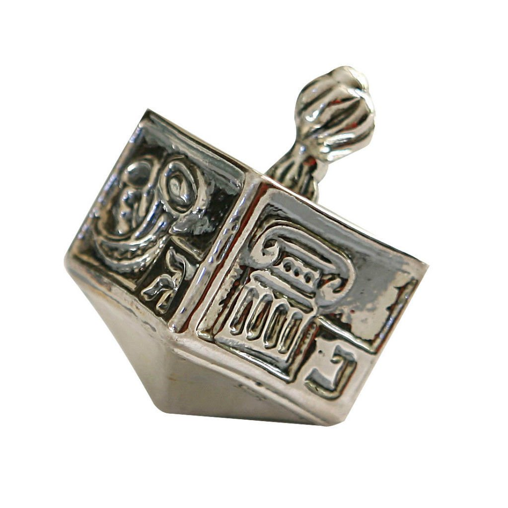 Hanukkah Chanukkah Dreidel Collector's Beautiful Unique 925 Sterling Silver Design, Weight: 23.2 Grams , Size: 2'' x 1.15'' . Spinning Top . Perfect & Great Gift for Hanukkah Collectors Kids Housewarming Birthday