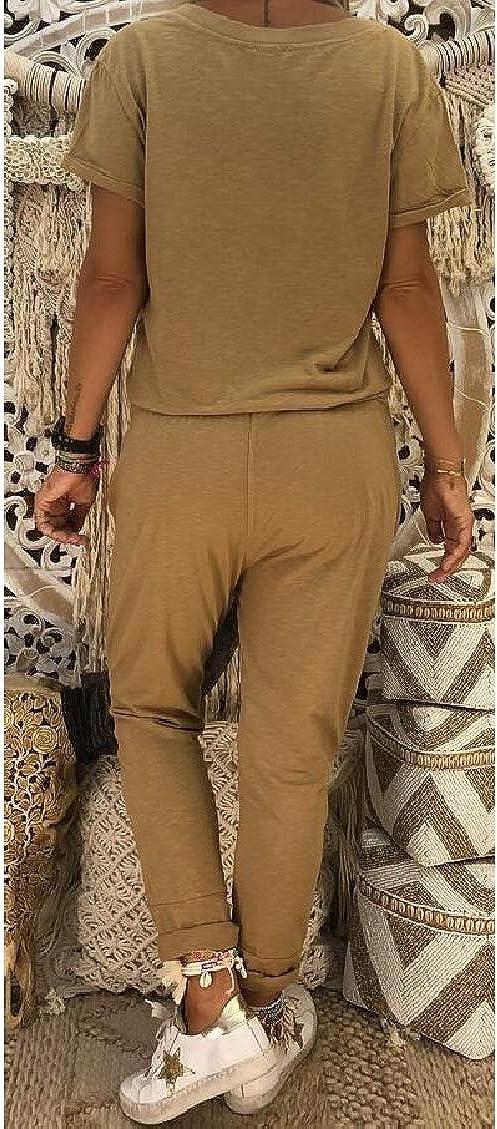 Hokny TD Womens Summer Short Sleeve Solid Color V-Neck Jumpsuit Romper