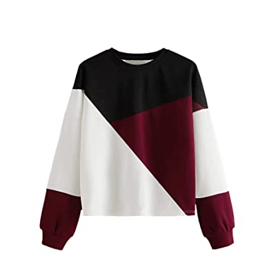 Milumia Women's Round Neck Drop Shoulder Color Block Sweatshirts Long Sleeve Pullover Tops at Women's Clothing store
