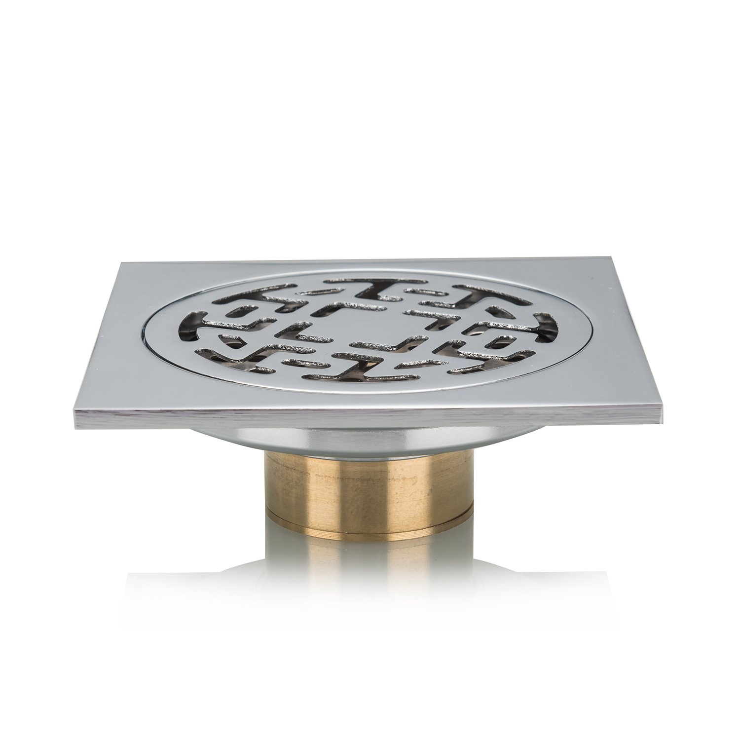 Toilet Kitchen Tinya Anti-Odor Invisible Shower Drain Full Copper Rustproof Floor Drain with Removable Strainer for Bathroom FD004