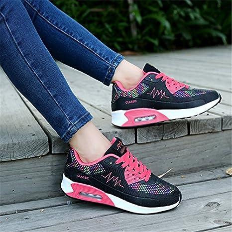 Zapatillas de mujer nueva mujer Sneakers cojín de aire marca de zapatillas de deporte zapatillas deportivas entrenadores cuña transpirable,C,7.5: Amazon.es: ...